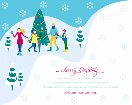 Merry Christmas poster with Christmas tree and happy family spend winter holidays. Flat style design. Landing page template. Vector background.