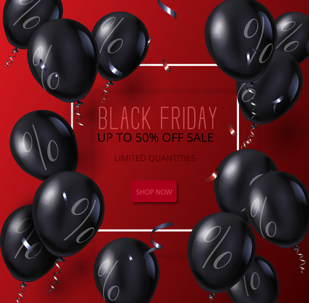 Black friday sale red promo poster with white square frame and shiny balloons. Shop now, up to 50 percent off. Vector background. Illustration