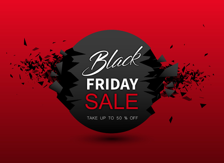 Black friday sale red background. Up to 50 percent off. Promotion or advertising template for shop. Vector background.