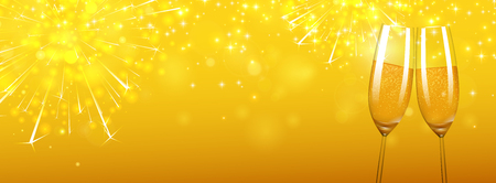 Yellow shiny Christmas and New Year banner with glasses of champagne and fireworks. Vector background.