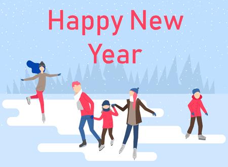 Affiche de bonne année avec des gens patinant sur la patinoire, passez les vacances de Noël. Fond de vecteur.