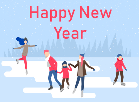 Happy New Year poster with people skating on the ice rink, spend Christmas holidays. Vector background.