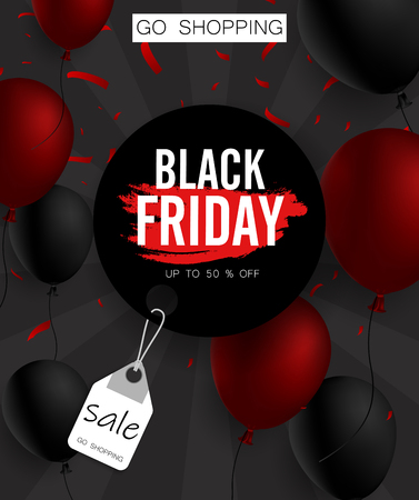 Black friday sale promo poster with balloons and red confetti. Go shopping. Vector background. Illustration