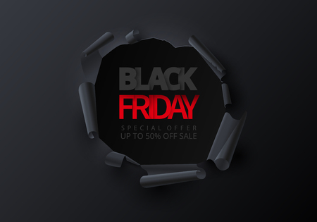 Black friday sale promotion poster. Creative torn paper decor. Special offer, up to 50 percent off. Advertising template for shop. Vector background.
