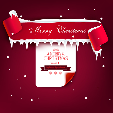 Vinous Merry Christmas and Happy New Year poster with ribbon, ice and snow. Vector background.