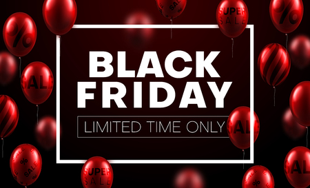 Black friday sale promotion poster with white frame and red balloons. Limited time only. Vector background.