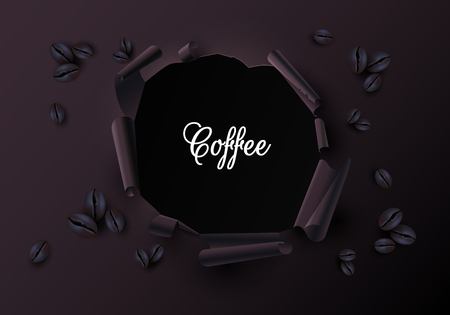 Paper poster with realistic coffee beans. Creative torn paper decor. Advertising or label template. Vector background.