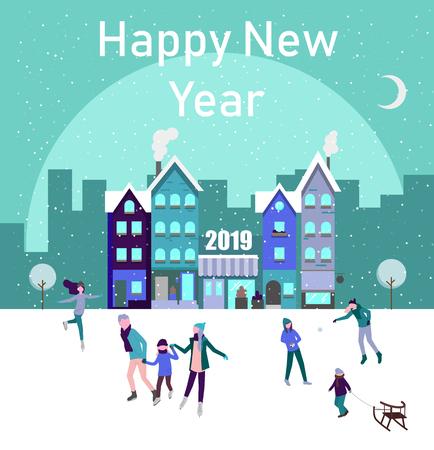 Affiche de bonne année 2019 avec des gens patinant sur la patinoire, passez les vacances de Noël en ville. Fond de vecteur. Vecteurs