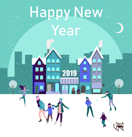 Happy New Year 2019 poster with people skating on the ice rink, spend Christmas holidays in city. Vector background.