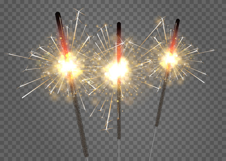 Sparkling bengal lights isolated on transparent backdrop for festive, Christmas and New Year decoration. Vector background. Illustration