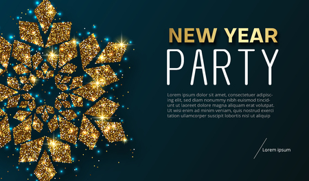 New Year party poster or invitation with golden shiny snowflake. Template with space for your text. Vector background.