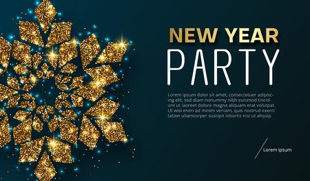 Nieuwjaarsfeest poster of uitnodiging met gouden glanzende sneeuwvlok. Sjabloon met ruimte voor uw tekst. Vectorachtergrond.