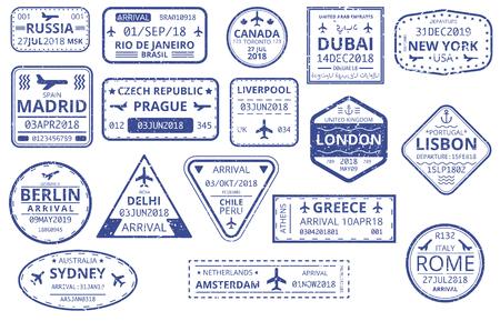 Ensemble de timbres personnalisés à bordure bleue dans le passeport isolé sur fond blanc. Tourisme international, voyages, vacances, immigration, visa, voyage d'affaires. Illustration de papier de vecteur. Vecteurs
