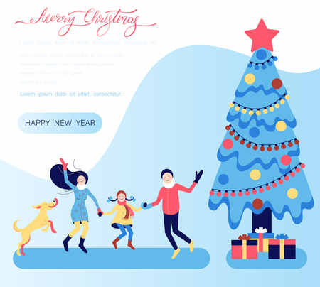 Merry Christmas and New Year festive poster with Christmas tree, happy family and space for text. Vector paper background.