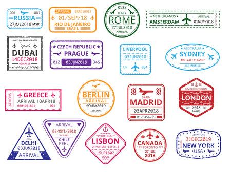 Zestaw stempli niestandardowych kolorów obramowania w paszporcie na białym tle. Turystyka międzynarodowa, podróże, wakacje, imigracja, wiza, podróż służbowa. Ilustracja wektorowa papieru.