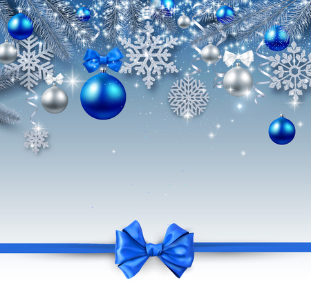 Christmas and New Year shiny card with silver Christmas balls, snowflakes and blue satin ribbon with bow. Vector background. 일러스트