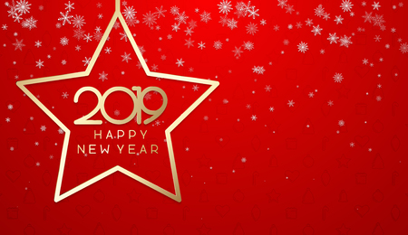 Red Happy New Year 2019 poster with golden star and snow. Vector background. 일러스트