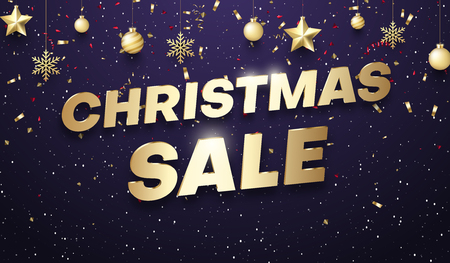 Purple shiny Christmas sale promotion poster with golden Christmas balls and color confetti. Vector background. 일러스트