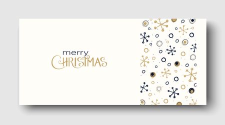 White Merry Christmas greeting card or poster with abstract winter pattern. Vector paper background.