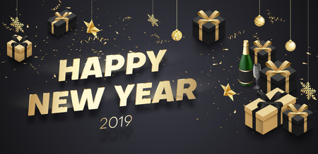 Happy New Year 2019 banner with golden 3d gifts, Champagne and Christmas decorations. Vector background.
