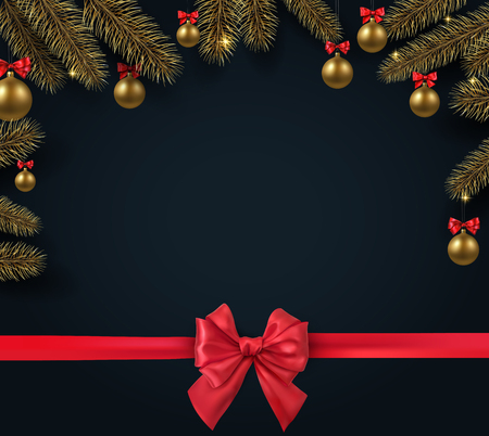 Black Christmas and New Year festive card with fir branches, gold Christmas balls and red satin ribbon with bow. Vector background.