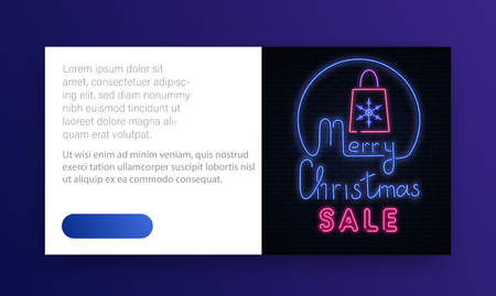 Merry Christmas sale neon promo card with shopping bag on brick textured backdrop. Template with space for text. Vector paper background.