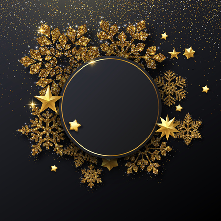 Christmas and New Year festive shiny card template with round frame, golden snowflakes and stars. Vector background. 일러스트