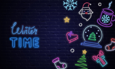 Winter time poster with neon luminous holiday decorations on brick textured backdrop. Vector background.