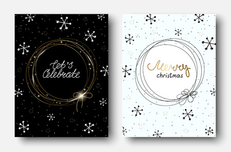 Set of Merry Christmas greeting cards with abstract pattern with snow. Vector paper background.