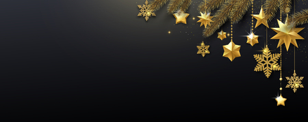 Black festive banner with fir branches, golden shiny snowflakes and stars. Template for Christmas and New Year decoration. Vector background.