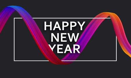 Happy New Year creative festive poster with colorful gradient brush stroke design on black. Vector background.