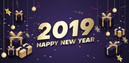 Purple Happy New Year 2019 poster with golden 3d gifts, Christmas decorations and confetti. Vector background.