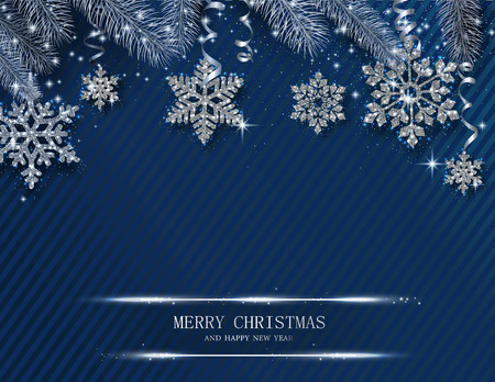 Blue Merry Christmas and Happy New Year shiny greeting card with beautiful golden snowflakes and fir branches. Vector background.