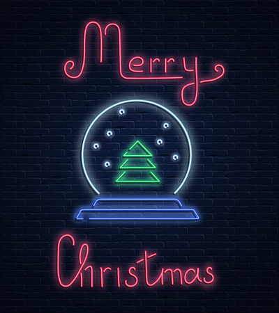 Merry Christmas neon luminous card with Christmas tree inside snowball on brick textured background. Vector background. 일러스트