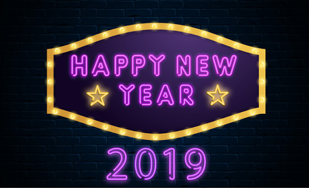 Happy New Year 2019 neon luminous purple and yellow sign on brick textured backdrop. Vector background.