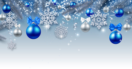 Blue Christmas and New Year shiny poster with fir branches, Christmas balls and silver snowflakes. Vector background.