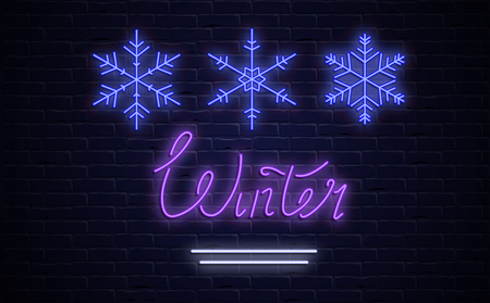 Winter neon luminous sign or poster with snowflakes on brick textured backdrop. Vector background.