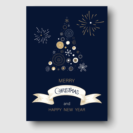 Blue Merry Christmas and Happy New Year greeting card with abstract Christmas tree. Vector background.