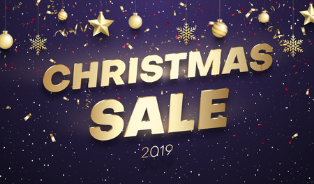 Purple Christmas 2019 sale promo poster with golden festive decorations and color confetti. Vector background. 일러스트