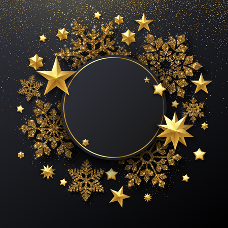 Christmas and New Year festive shiny card template with round frame, golden snowflakes and stars. Vector background. Vectores