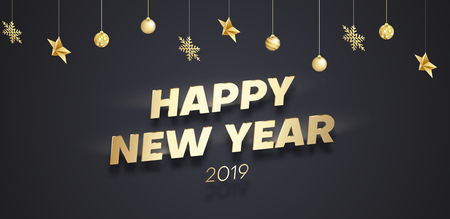 Happy New Year 2019 poster with golden Christmas decorations. Vector background. 일러스트