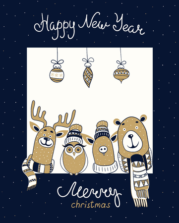 Merry Christmas and Happy New Year greeting card with cute cartoon animals. Vector background.
