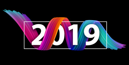 New Year 2019 creative festive banner with colorful gradient brush stroke design on black. Vector background.