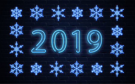 Happy New Year 2019 neon luminous poster with blue snowflakes on brick textured backdrop. Vector background.