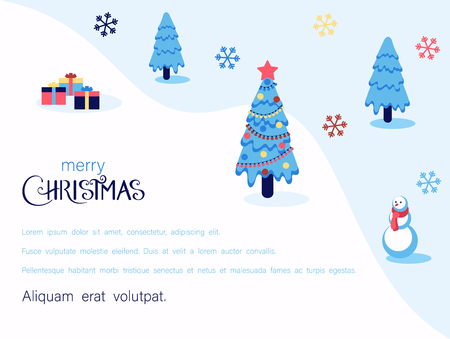Merry Christmas festive poster with Christmas tree, gifts, snowflakes and space for text. Vector paper background.