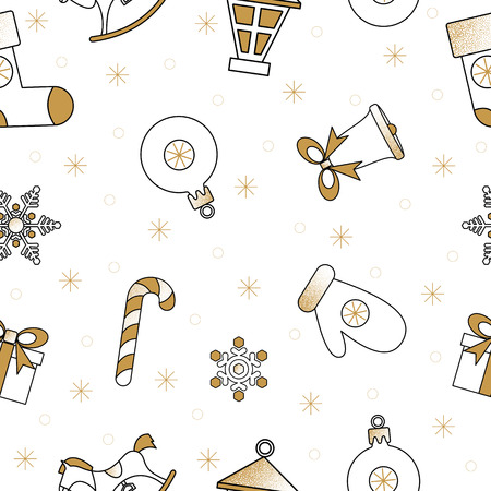 White abstract seamless pattern with Christmas bell, gift, candy and snow for Christmas and New Year festive decoration. Vector paper background.  일러스트