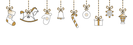 White Christmas and New Year banner with cute holiday decorations. Vector background.