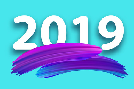 New Year 2019 creative sign with purple gradient brush strokes on blue backdrop. Festive decoration. Vector background.