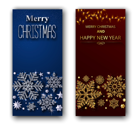 Set of Merry Christmas and Happy New Year shiny greeting cards with beautiful snowflakes and lights. Vector background.