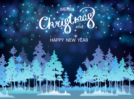 Blue Merry Christmas and Happy New Year shiny greeting card with magic fir forest. Vector background.  일러스트